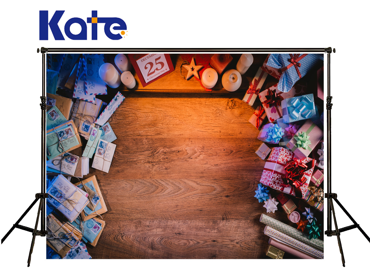 KATE Photo Background Christmas Photo Backdrop Gift Box Photo Background Old Wooden Floor Background For Newborn Photo Shoot<br>