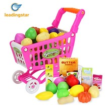 LeadingStar Plastic Supermarket Toys Shopping Cart with Fruits Miniature Food Play Baby Early Educational Toy ZK30(China)
