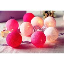 Hot! 20 LEDS Lovely Pink Color Scheme Cotton Balls With LED Light String Light Fairy For Wedding Festival Party Home Decor(China)