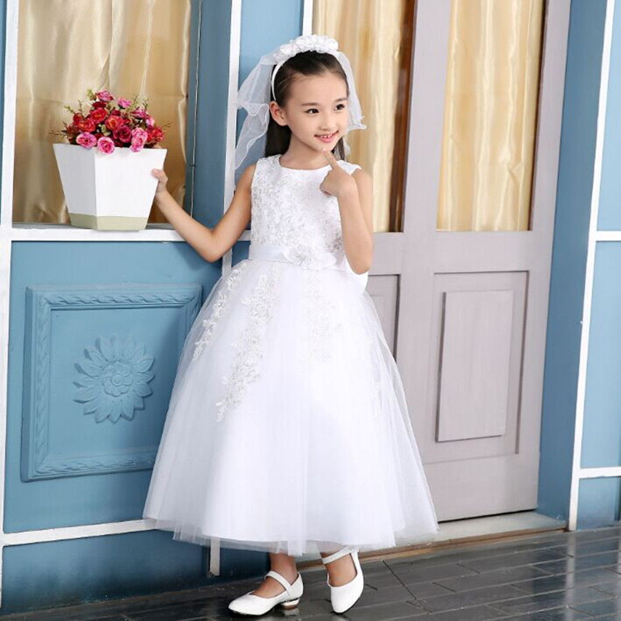 2016 New Flower Girl Long Dress For Party Wedding O-neck sleeveless princess tutu dress chaired Performance dress white<br>