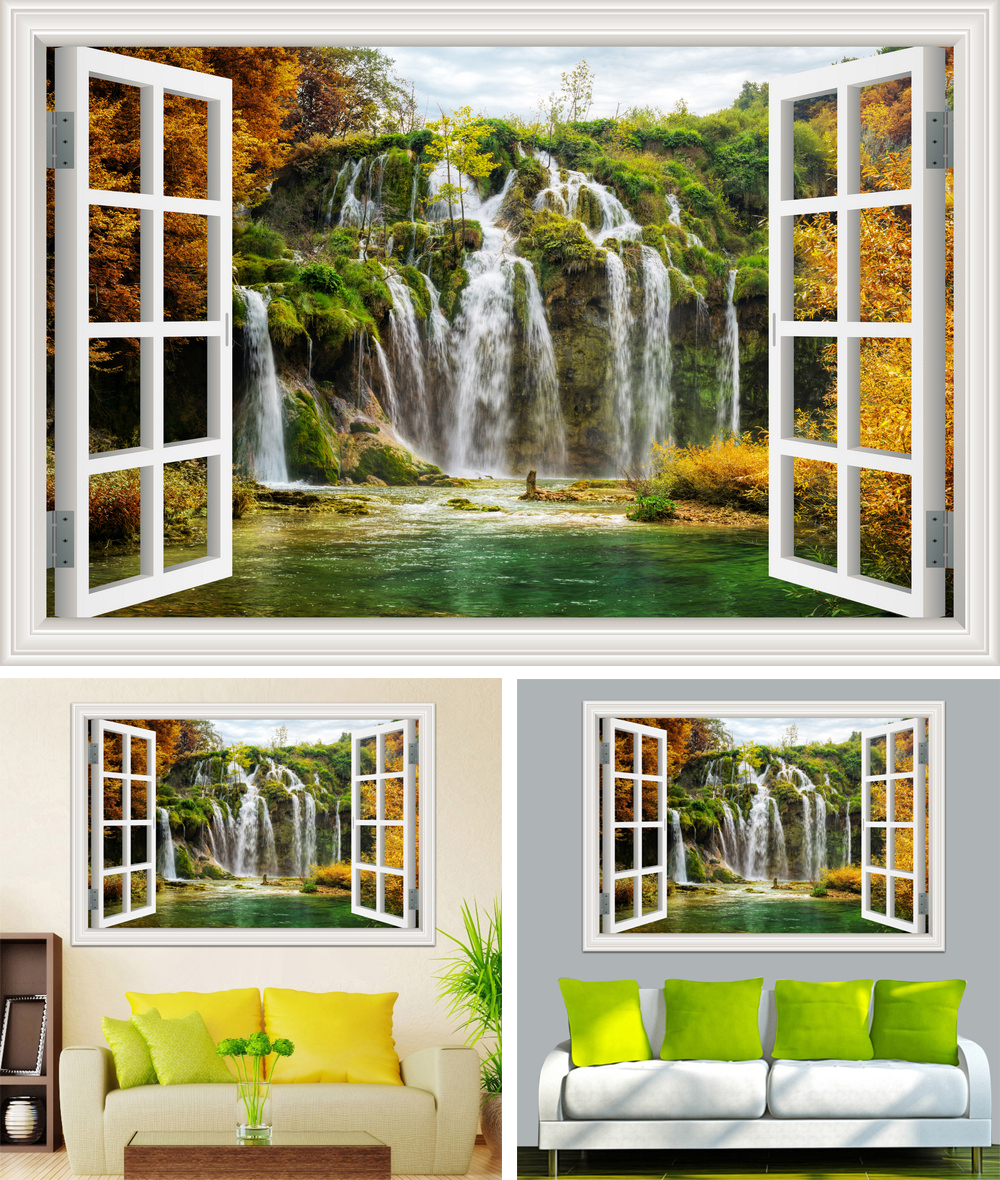 HTB1RUDScJHO8KJjSZFLq6yTqVXaQ - Waterfall 3D Window View Wallpaper Nature Landscape Wall Decals for Living Room