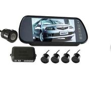 3 in 1 monitor parking camera video system/7 inch rear view mirror monitor with back up mini camera with 4 sensor radar parking