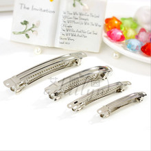 10pcs French Barrettes 100mm Silver Hair Clip Craft Ribbon Bow DIY metal Tool