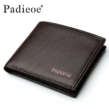 Padieoe Genuine Leather Men Wallets Famous Brand Male Wallet For Business Man Solid Brown Color Short Wallets Men Clutch Wallets