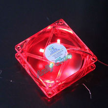 500Pieces Lot wholesale 80x25mm 8cm 8025S PC Case Computer DC 12V 4Pin Red Light LED 80mm Cooling Fan(China)