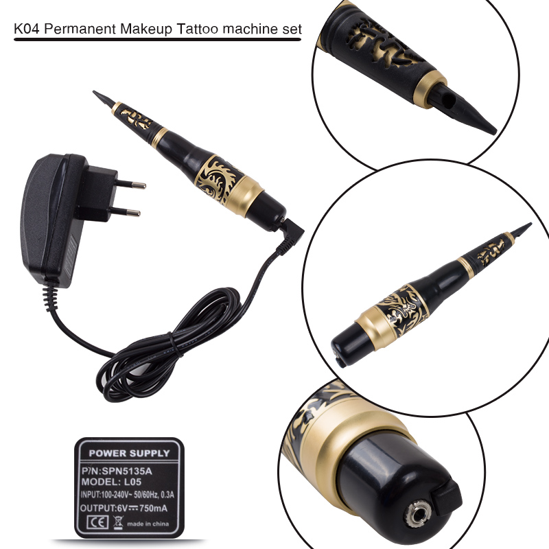 Hot Selling Permanent Makeup Eyebrow Rotary Tattoo Machine Microblading Pen Kit with 50 Needles 50 Tips EU or US Plugs<br>