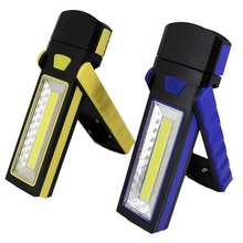 COB LED Magnetic Work Stand Hanging Hook Light Flashlight Outdoors Bright Hand Torch Recharge AAA battery