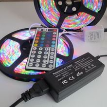 12v 10m 2*5M 600 Led RGB waterproof Strip Light SMD 3528 3014 60LED/M Flexible Ribbon+44key IR Remote Controller+5A power supply