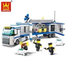 Building Blocks Enlighten DIY 3D Scale Bricks Police Series Toys Police Mobile Command Simulation Car Vehicle Model Gift(China)