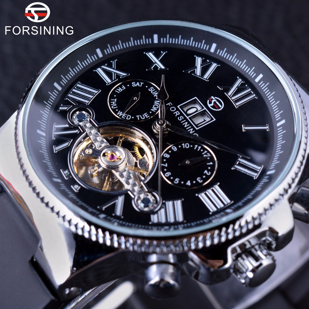 Forsining Navigator Series Tourbillion Calendar Display Black Silver Clcck Men Watch Top Brand Luxury Male Automatic Wrist Watch<br>