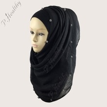 Wholesale plain crystal diamond ball scarf fashion cotton viscose long shawls muslim hijabs wrap scarves,Can choose colors,PH003(China)