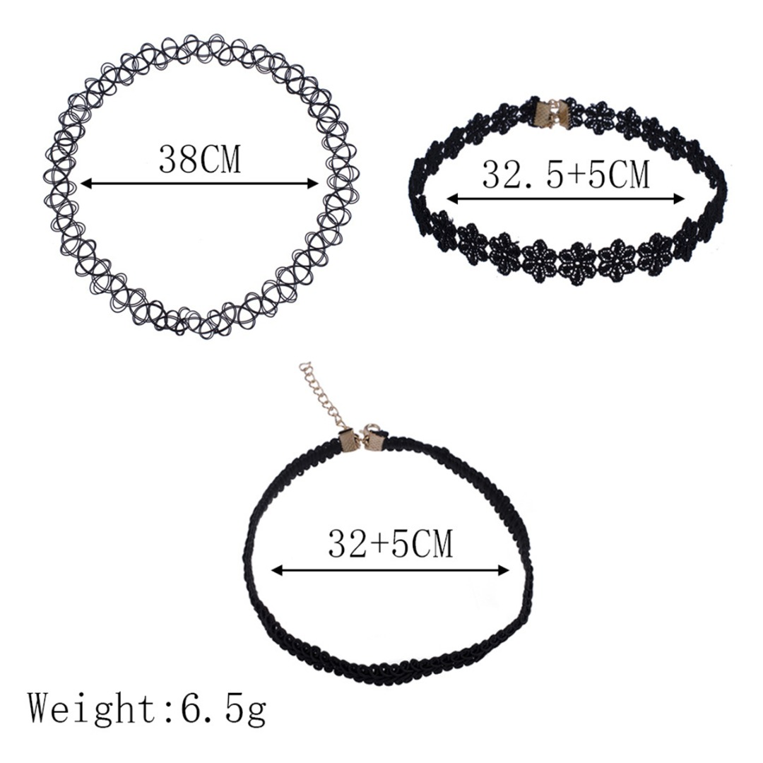 3pcs/set Elastic Chokers Necklaces For Women Black Lace Hollow Flower Short Clavicle Collares Steampunk Fashion Jewelry