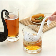 Free DHL 100pcs/lot  Gift Swan Spoon Tea Strainer Infuser Teaspoon Filter Creative Plastic Tea Tools Kitchen Accessories