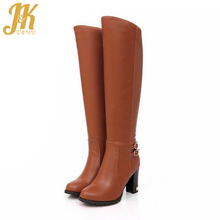 2017 big size 34-43 women knee boots sexy double buckle strap women knight boots thick heels women motorcycle boots winter shoes