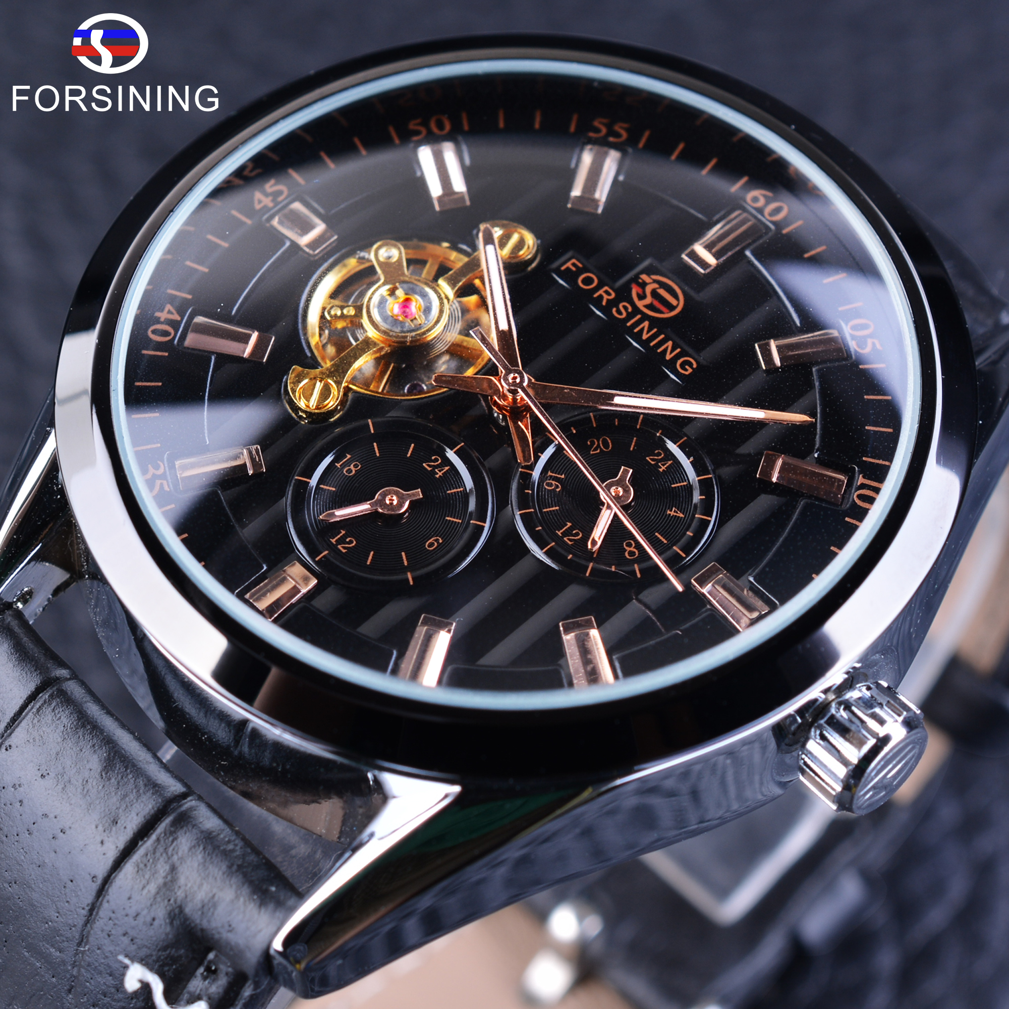 Forsining Mens Watch Fashion Tourbillion Design Hour Display Automatic Man Clock Black Genuine Leather Strap Wrist Watch<br>