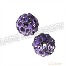 Wholesale fashion beads 60pcs/lot New light purple Polymer Clay Round Rhinestone fancy spacer beads fit bracelet making 112462