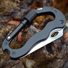 self defense Outdoor Multi-function EDC Tools 5 in 1 Aluminum Climbing Carabiner Security Knife Hook Gear Multi Tool Buckle Rock(China)