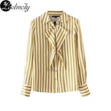 Levlmoly 2017 Для женщин длинный рукав в желтую полоску Блузка Рубашки для мальчиков Простой Топ для осени AZ8624(China)