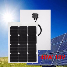 40W 18V Solar Panel Single Crystal Protable Solar Module With MC4 Connector 2 Meters Cable For Battery Charging RV Boat Caravan