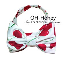 handmade women vintage 50s pin up rockabilly red white cherry headband hairband hair head bands elastic bandanas accessories(China)