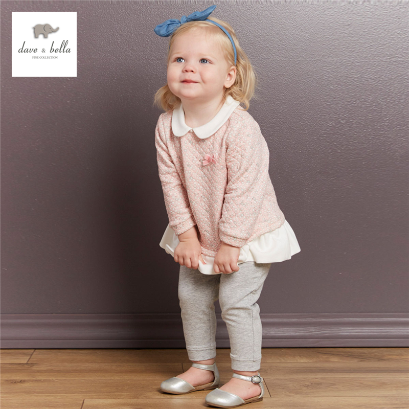 DB3927 dave bella autumn baby girl pink floral clothing set girls peter pan collar set kids pink cute padded clothing set<br>