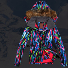 Waterproof Breathable Women's Ski Jacket Outdoor Hiking Camping Jacket Stripped Snowboard Jacket Female Winter Thermal Coat(China)