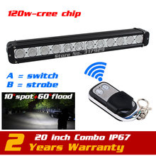 20'' 120W LED Light Bar Wireless Remote with Strobe Light for Truck Tractor ATV 4x4 12v LED Offroad Fog light Save on 180W