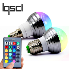 LQSCI E27 E14 LED RGB Bulb lamp AC110V 220V3W LED RGB Spot light dimmable magic Holiday RGB lighting+IR Remote Control 16 colors