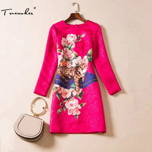Truevoker Designer Dress Women's High Quality Long Sleeve Fancy Flower Animal Printed Rose Pink Embossed Plus Size XXL Dress(China)