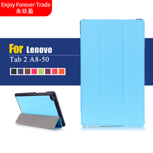 Ultra Slim Flip Magnetic Leather Folding Stand Cover Case For Lenovo Tab 2 A8 A8-50 A8-50F A8-50LC 8.0 tablet case Free Delivery