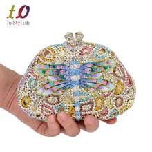 Luxury Lastest Diamond Crystal Clutch Bag Lovely Dragonfly Design Drops of oil diamante Party Evening Bag banquet Purse SC528