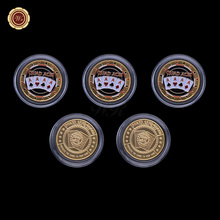 WR Birthday Party Supplies Chip Coins 24k 999.9 Gold Plated Metal Coin Casino Poker Token Coins Unique Gifts 40mm