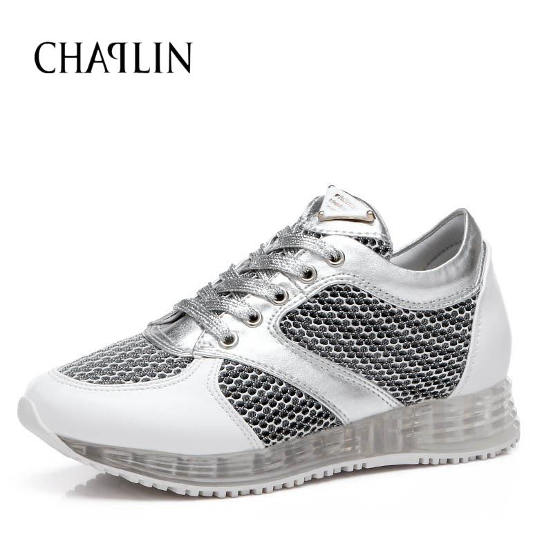 Hot New Summer Air Mesh Womens Casual Shoes Slip-on Cut-Outs Breathable Platform Shoes Casual White Sliver Shoes 756<br><br>Aliexpress