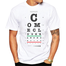 2016 Men's Funny Come Closer visual chart Design T Shirt Male Fashion Cool Tops Hipster Printed Summer Tees