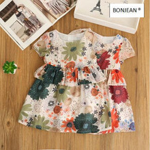 70354039 2017 New Summer Fashion Baby Girls Dresses Print Short Girl Dress Ruffles Kids Clothing Supplier Lots(China)