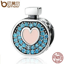 BAMOER Romantic 925 Sterling Silver Soft Pink Heart Blue Crystals Perfume Bottle Charms Fit DIY Bracelets Jewelry SCC094(China)