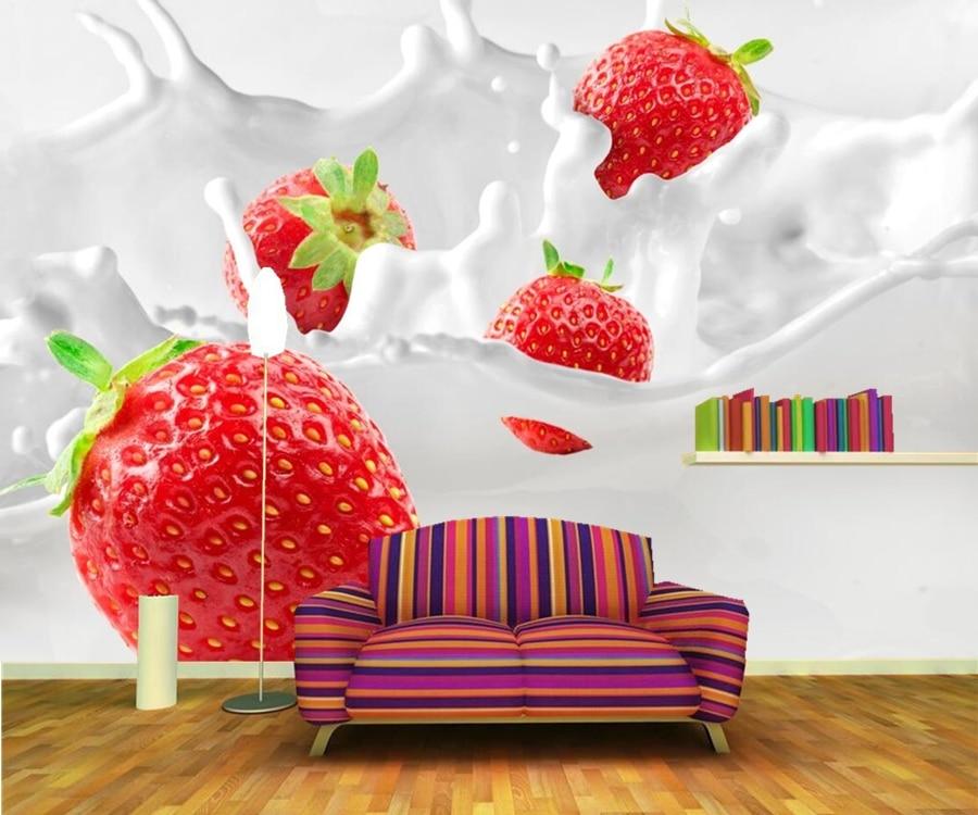 Papel de parede Strawberry Milk Food wallpapers,restaurant fast food shop bar dining room TV wall kitchen 3d murals<br>