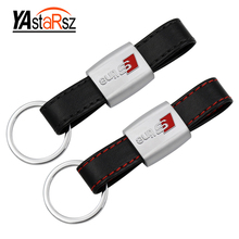1pcs Auto Car Sticker Black Red Line Leather Sport SLine for Audi 3 A4 A5 A6 A8 TT RS Q5 Q7 S Line Keychain Keyring Keyfob