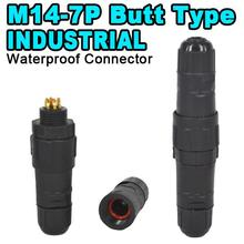 2016 M14 7 Pin IP68 Waterproof Connector Industrial Adapter 5A 400V For Electrical Wire Cord Contacts Butt Type 7 Pole Plug