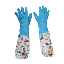 Waterproof Household Glove Warm Dishwashing Glove Water Dust Stop Cleaning Rubber Glove Sleeves For Kitchen