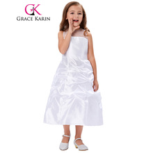 Grace Karin Long White First Communion Dress for Girls 2017 Sleeveless Party Prom Gowns Princess Brides Flower Girl Dresses