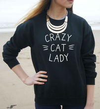CRAZY CAT LADY Letters Print Women Sweatshirt Jumper Cotton Casual Hoody For Lady Hipster Whtie Black BZ203-17