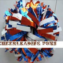 "1Piece Cheerleader Pom poms 6"" Baton Handle Metallic Brone Metallic White Metallic Royal Blue Custom Color Competion Poms Video"