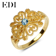 EDI 925 Sterling Silver Natural Blue Topaz Filaments Wedding Rings 18K Gold Classic Original Design 2017 New Rings for Women(China)