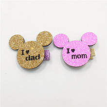 20pcs/lot Pink Glitter Felt I Love Mom Hair Clip Mother's Day Father's Day Animal Barrette Gold Cartoon Mouse I Love Dad Hairpin(China)