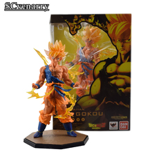 "Anime Dragon Ball Z Figuarts Goku Figure Super Saiyan Son Gokou Goku Fighting Ver. Anime PVC Action Figures Model Toy 7"" 18CM(China)"