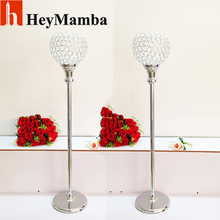 10pcs/lot Crystal Wedding Centerpiece Silver Metal Candle Holder Stand For Wedding Centerpieces Decoration Crystal Sale H/100cm