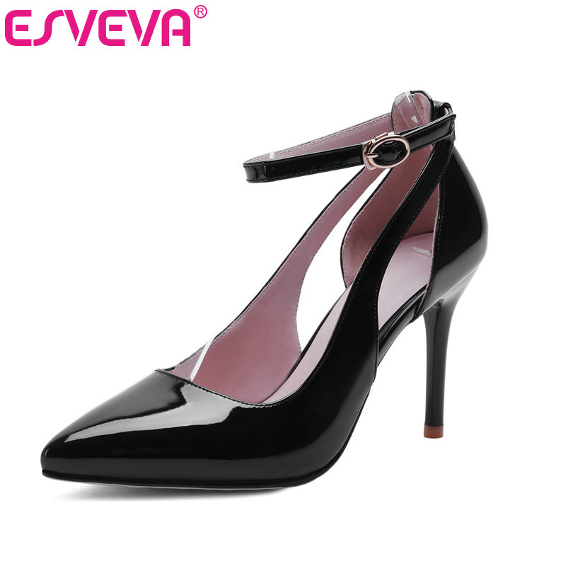ESVEVA New Ankle Strap Thin High Heels Pointed Toe Women Pumps Pu Patent Leather Spring/Autumn Lady Party Shoes Size 34-40 Red<br>