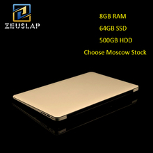 Russia Stock 14inch 8G RAM 64GB SSD 500GB HDD Quad Core Windows 10 System 1920X1080P FHD Ultrathin Notebook Computer Laptop(China)