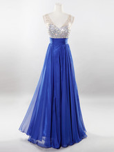 Sleeveless Beaded Crystals Top Chiffon Long Real Photos Sample Evening Dresses Gowns 2017